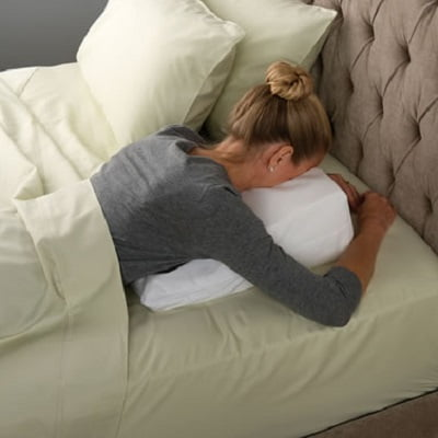 the back pain relieving wedge pillow is equipped with sturdy yet comfy foam fill capable of maintaining its shape all throughout the nigh and