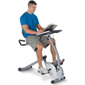 The Cardio Workstation - A semi-recumbent exercise bicycle that enables user to work while enjoying low impact cardio workout