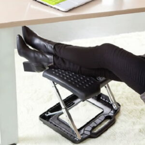 The Adjustable Height Portable Foot And Leg Rest - with built-in massage rollers that relieve tension in tired legs and feet