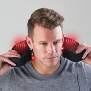 The Neck Pain Relieving Travel Cushion - A travel pillow with therapeutic light, gentle heat, and stabilizing support to help relieve neck pain