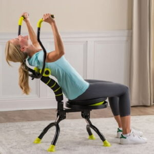 The Seated Back Strengthener - lets you remain seated while stretching and strengthening back muscles in all directions