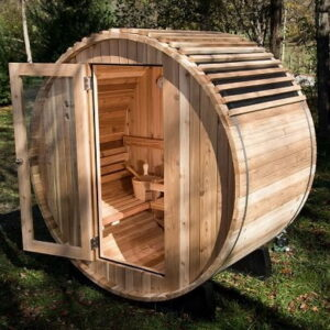 The Finnish Barrel Sauna - An outdoor barrel shape sauna that heats more quickly and efficiently